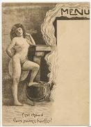 Prostitution  Menu C' Est Chaud Vous Pouvez Bouffer , Femme Nue à La Marmite Signée Gravure Originale - Nus Adultes (< 1960)