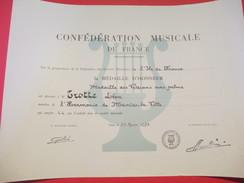 Conf. Musicale De France/Médaille D'Honneur/Vétérans Avec Palme/Léon TROTTE/Harmonie De MANTES La VILLE/1978      DIP136 - Diploma & School Reports