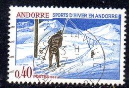 Y2001 - ANDORRA 1966 , Unificato N. 176 Usato . SCI