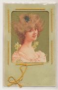 Superbe Carte A Cheveux Et Cordon  Original Hair Beautiful Blond  Woman - Cartoline