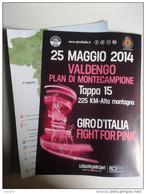 Alt556 Poster Giro D'italia 2014 Tappa Valdengo Biella Plan Montecampione Fight For Pink Gazzetta Sport Ciclismo Bike - Ciclismo