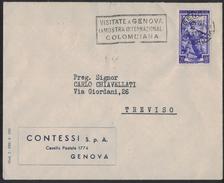 AZ154      Storia Postale 1951 Annullo Meccanico - GENOVA MOSTRA INTERNAZIONALE COLOMBIANA - 6. 1946-.. Repubblica