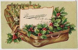 Le  Gui Mistletoe  Belle Carte Gaufrée Valise Houx Et Gui Embossed - Fleurs