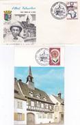 France 1965 - Albert Schweitzer - 90e Anniv De La Naissance  - 2 Documents - Prix Nobel De La Paix - Kaysersberg