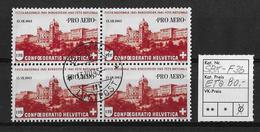 FLUGPOSTMARKEN → 1943  PRO AERO Bundesfeier 1943  ►SBK-F36 Erstagsausgabe Im Viererblock◄