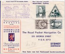 1938 - Devant De Lettre Par Avion Amsterdam-Sydney : Ouverture De La Ligne Aérienne Via Batavia, Djakarta - KLM KNILM