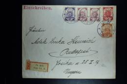 Letland / Latvia Registered Letter Rigo To Budapest Hungery 1919 Mixed Stamps - Lettland
