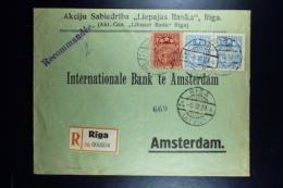 Letland / Latvia Registered Letter Riga To Amsterdam  1927 Mixed Stamps - Lettland