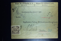 Letland / Latvia Registered Letter Wertbrief  Valuerdeclarée Riga To Berlin  1923 Mixed Stamps Wax Seals Removed At Back - Lettland