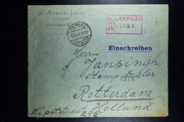 Letland / Latvia Registered Letter Leepaja Liepaia Libau To Rotterdam  1920  Stamps On Back - Lettland