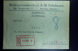 Letland / Latvia Registered Letter  Riga  To Paris 1929 Mi 135 Strip Has Been Opened For Exhibition - Lettland