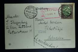 Letland / Latvia Registered Postcard Leepaja Libau To Sweden 1920  Mi 44A - Lettland