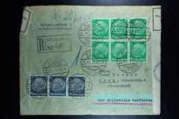 Letland / Latvia Registered Letter 1942 Aloja To Graz Austria With Censor Strip  Der Zollstelle Vorführen Label - Latvia