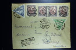 Letland / Latvia Registered Letter Liepaja To Linkoping Sweden 1921  Airmail Stamps. - Lettonia