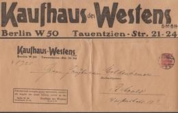 Allemagne 1912. Bande-journal Timbrée Sur Commande. Kaufhaus Des Westens, Centre Commercial Juif