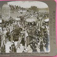 1908 Photo Stereo The Durbar Défilé éléphants Décorés Delhi India N°1422 éditeur Keystone View Company 17.8x9 Cms - Stereoscopic