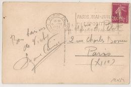 PARIS XII R. CROZATIER EXPOSITION D'ART ITALIEN Sur 20c SEMEUSE. - Oblitérations Mécaniques (flammes)