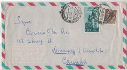 AZ165      Posta Aerea Per Canada In Tariffa 1956  £ 100 Campidoglio + £ 20 Siracusana - 6. 1946-.. Repubblica