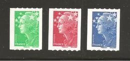 France, Adhésif, 219, 220, 221, Roulette, Neuf **, TTB, Marianne De Beaujard
