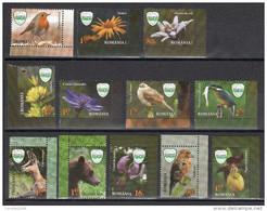 ROMANIA, 2016, CEAHLAU NATIONAL PARK, Bear, Birds, Plants, Flowers, Set Of 12 Stamps