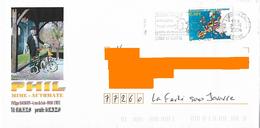 Enveloppe Illustrée Phil Mime Automate Cheu Yonne Vélo Cycle Timbre élargissement Union Européenne