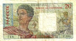 FRENCH POLYNESIA 20 FRANCS GREY MAN HEAD FRONT WOMAN BACK NOT DATED(1951) P21a 1ST SIG VARIETY F READ DESCRIPTION!! - Papeete (French Polynesia 1914-1985)