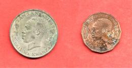 LOT De 2 Monnaies De TANZANIE , 1966 - Tanzanie