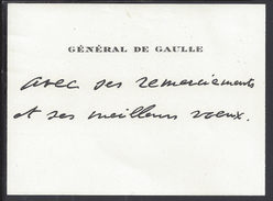 """FR - Carte De Visite Du Général De Gaulle """" Avec Ses Remerciements Et Ses Meilleurs Voeux """" Dim. 95 X 70 - TB - Cartes De Visite"""