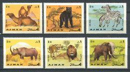 193 AJMAN 1969 - Yvert Serie A 64 - Lion Dromadaire Rhinoceros Zebre .... -  Neuf ** (MNH) Sans Trace De Charniere