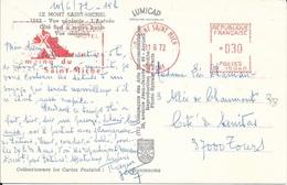 MANCHE   - MONT ST MICHEL  - EMA :  ROTISSERIE / BUNGALOWS / MOTEL / CAMPING DU MONT SAINT MICHEL   1972  TARIF CP 0,30 - Postmark Collection (Covers)