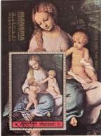 "Bf. 230A Manama 1972 ""Madonna Col Bambino San Giovannino"" Quadro Dipinto Correggio Preobliterato Rinascimento Paintings"