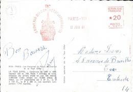 SEINE - PARIS VII  - EMA : SOUVENIR DU SOMMET DE LA TOUR EIFFEL  TARIF CP *0,20 1964 - Marcophilie (Lettres)