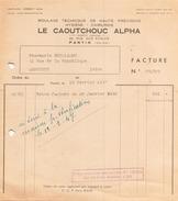 FACTURE MOULAGE TECHNIQUE DE HAUTE PRECISION LE CAOUTCHOUC ALPHA 10 FEVRIER 1947 A PANTIN - France