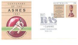 (155) Australia - FDC - 1982 - Sydney Showground RAS - Ashes Cricket - Sobre Primer Día (FDC)