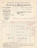 """69 LYON FACTURE 1958 Huiles De Graissage Pour Autos """" Prémoléine """" Anc. Janin & ROMATIER   - Y99 Bidon Huile - Automovilismo"""