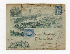 !!! ENTIER POSTAL 15 C SAGE EXPOSITION DE LYON 1894 EN RECOMMANDE. DOS RENFORCE, EN L'ETAT