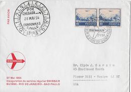 SWISSAIRFLUG SUISSE-RIO DE JANEIRO-SAO PAULO → Flug VOM 27.05.1954   ►mit Paar SBK F44c ◄