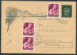 1954 Liechtenstein Uprated Stationery Postcard Vaduz - Dornbirn, Vorarlberg - Liechtenstein