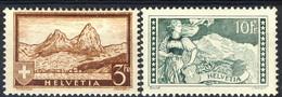 Svizzera 1930-31 Serie N. 244 F. 3 Bruno Giallo E 245 F. 10 Verde Grigio. Vedute MNH-MVLH Cat. € 400 Firmati A. Die - Svizzera