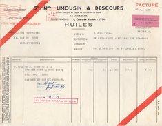 69 LYON FACTURE 1954 HUILES Sté Nouvelle LIMOUSIN & DESCOURS    -  Z9 - 1950 - ...