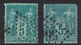 """JOUR  DE L'AN : LOT DE 2 OBLITERATIONS DIFFÉRENTES """"ETOILE DE POINTS"""" + """"GC 56?"""" (EN L'ETAT) - 1876-1898 Sage (Type II)"""