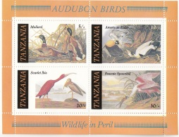 309a Tanzania 1986 Disegni Di Uccelli Americani Fatti Da J.J.  Audubon Anatra Ibis Germano Spatola Rosa MNG