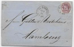 HOLSTEIN - 1866 - LETTRE De KIEL BAHNHOF Pour HAMBOURG