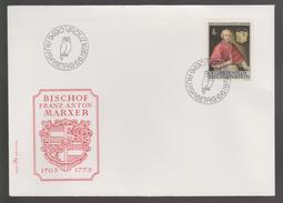 B 455) Liechtenstein 1974 Mi# 613 FDC: Franz Anton Marxer, Bischof Wohltäter - Covers & Documents