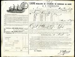 1884 Connaissement De Bordeaux Pour Hambourg Caisses De Cognac - 1800 – 1899