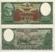 "NEPAL   100 Rupees     P15  ""rhinoceros At Back""    ND  1961   UNC - Nepal"