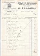61 - Facture 1928 , Cycles Et Automobiles, Atelier Reparations, RADIGUET à CONDE SUR HUISNE - 1900 – 1949