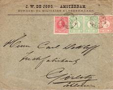 12 JUL 1890 Brief Met Firmalogo  Van AMSTERDAM Naar GÖRLITZ Met Mengfrankering NVPH 21, 30 Paartje31