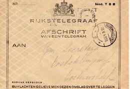 1948 Envelop Rijkstelegraaf Mod T 8 B Van Leeuwarden-Station Naar Oosterwolde Via Noordwolde