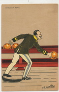 Art Card Bowling Signed Ch. Naillod Bowling à Rome King Emmanuel II Playing Satirical - Bowling